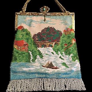 Vintage Jeweled Enamel Frame Beaded Lake Scenic Purse