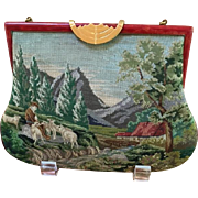 Vintage Pastoral Micro Petit Point Purse Great Frame Different Seasons