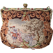 Vintage Micro Petit Point Figural Scenic Purse Enamel Jeweled Frame