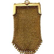 TO BE REMOVED 10-31-16 Antique 9 Carat Yellow Gold Mesh Purse