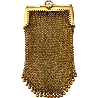 Antique 9 Carat Yellow Gold Mesh Purse