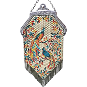 Marked Mandalian Colorful Peacocks Enamel Mesh Purse