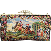 Spectacular Petit Point Purse England Hand Done Figural Horses Castles