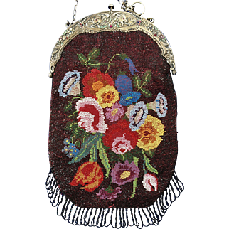 Antique Micro Beaded Floral Purse Genuine Gemstone Frame