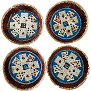 LAST CHANCE! Antique Beaded Playing Card Holders Set of Four