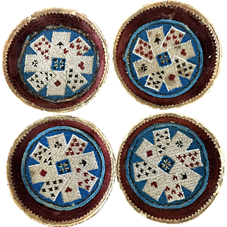 Antique Beaded Playing Card Holders Set of Four