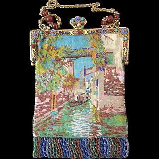 Antique Jeweled Enamel Venetian Scenic Beaded Purse Venice Scene Handbag