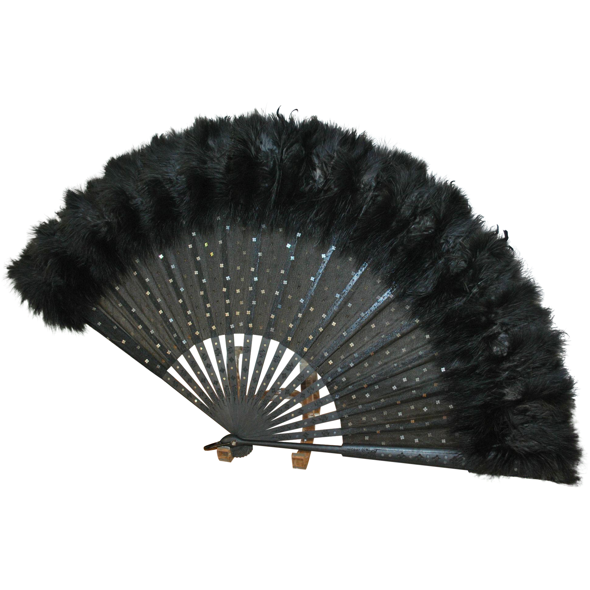 Victorian Ostrich Hand Fan Sparkling Sequins
