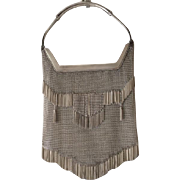 German 800 Silver Mesh Purse with Fringe and Tassels
