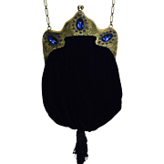 TO BE REMOVED 5-31 - Vintage Jeweled Frame  Brass Black Velvet Purse Sapphire  Blue Stones
