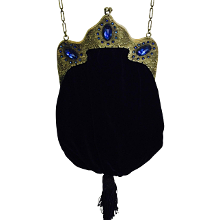 Vintage Jeweled Frame  Brass Black Velvet Purse Sapphire  Blue Stones