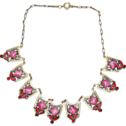 Vintage Czech Jeweled Enamel Choker Necklace