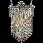 Mandalian Enamel Frame Mesh Purse Drops