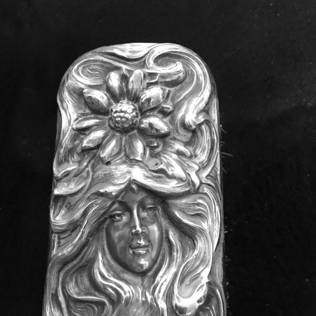 Antique Art Nouveau Six Piece Sterling Silver Vanity Dresser Set From