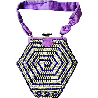 TO BE REMOVED 12-12-17/ LAST CHANCE! Spectacular C. 1920's Rhinestone Vintage Purse Purple Violet