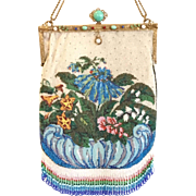 Large Vintage Jeweled  Enamel Frame Floral Beaded Purse