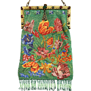 Stunning Colorful Multi-Floral Jeweled Beaded Purse