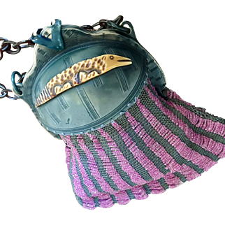 Vintage Alligator Reptile Double Sided Domed Celluloid Beaded Purse