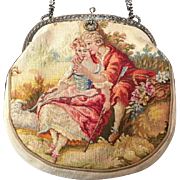 E. Gauthier Paris French Aubusson Tapestry Figural Purse