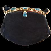 Stunning Black Suede Jolles Original Faux Aquamarine Vintage Purse
