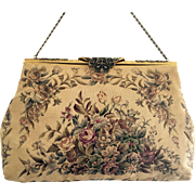Vintage French Petit Point Tapestry Purse Marcasite Frame