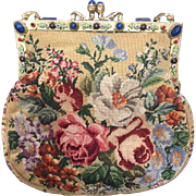 Vintage Jeweled Enamel Floral Petit Point Purse