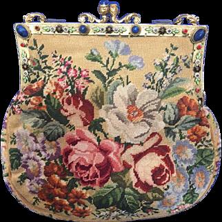Vintage Jeweled Enamel Floral Petit Point Purse