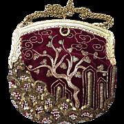 Elegant French Antique Needlework Gold Metallic Threads Pearls Paillettes Tree of Life