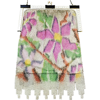 Whiting and Davis Dresden Mesh Purse Enamel and Marcasite Frame