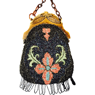 Vintage Celluloid Beaded Purse Flowers and Leaves