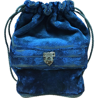 Antique Velvet Reticule Opera Bag with Coin Purse and Glasses