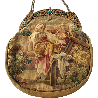 Stunning Double Sided Jeweled Frame Figural Scenic Aubusson Tapestry Purse