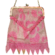Pretty Pink German Dresden Mesh Purse