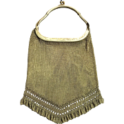 Vintage Hard Handle Gold Tone Antique Mesh Purse