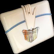 Celluloid Painted Rhinestone Deco Envelope Style Purse Cigarette Case