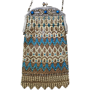 Mandalian Enamel Mesh Purse Three Teal Stones