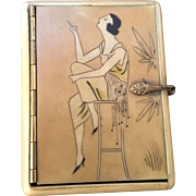 Art Deco Celluloid Smoking Flapper Lady  Box Case
