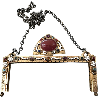 Vintage Jeweled Enamel Purse Frame Handbag Ready