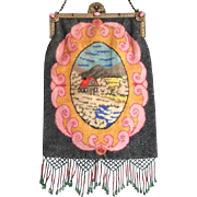 Jeweled Frame House by the Mountains Beaded Purse