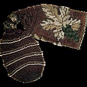 Antique Autumn Leaves Beaded Miser Bag Purse