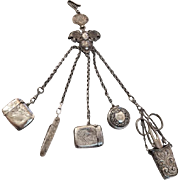Antique English Sterling Silver Five Piece Chatelaine