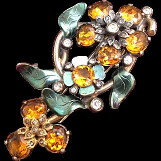 Large Rare Eisenberg Original Enamel Jeweled Citrine Quartz Fur Dress Clip
