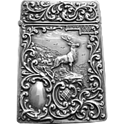 Antique Edwardian Sterling Silver Calling Card Case Stag Fawns