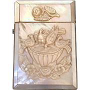 Victorian Mother of Pearl Calling Card Case Bird Bath