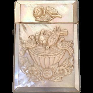 Victorian Mother of Pearl Calling Card Case Bird Bath