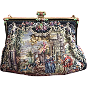Spectacular  Scenic Figural Micro Petit Point Purse