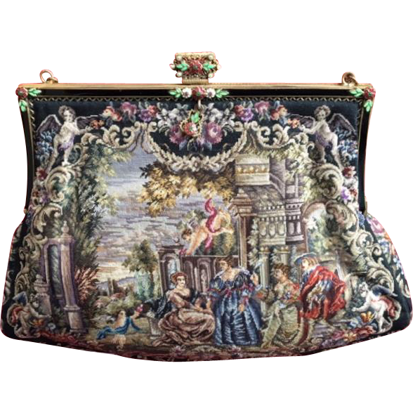 spectacular scenic figural micro petit point purse from everydaysagift on ruby lane. Black Bedroom Furniture Sets. Home Design Ideas