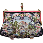 French Micro Petit Point  Two Pattern Figural and Scenic Purse