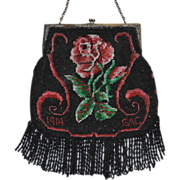 LAST CHANCE! Romantic Edwardian Beaded Dated 1914 Red Rose Purse