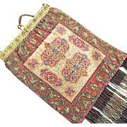 Colorful Oriental Rug Pattern Steel Beaded Purse